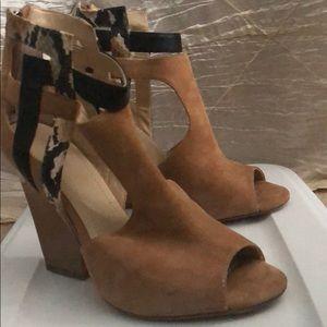 Calvin Klein peep toe suede booties